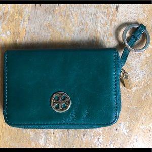 Auth Green Tory Burch Robinson Wallet Key Ring EUC
